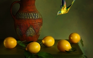 ceramics, lemons, still life, autumn, Uzbek ceramics, fruit