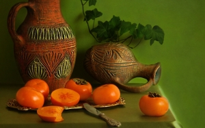 quince, pottery, ceramics, still life, autumn, Uzbek ceramics