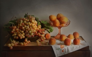 grapes, still life, autumn, peaches
