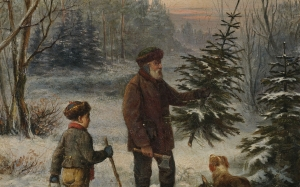 Franz Kruger, father and son, dog, christmas tree, forest, painting, Christmas, New Year, winter