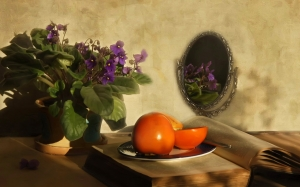 still life, violet, fruits, persimmons, flowers