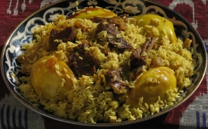 quince, food, raisins, cooking, kitchen, meat, rice, rice, spices, fruit, pilaf