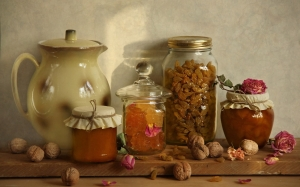 jam, food, raisins, cooking, kitchen, still life, autumn, rose, rose, fruits, flowers