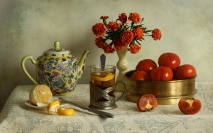 lemon, still life, October, autumn, fruits, persimmons, flowers