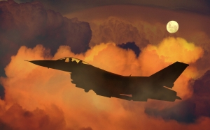 air plane, fighter, night sky, moon, clouds, aircraft, military, war, jet, flight, aviation, transport, aerospace, fly, sky, army, aerial