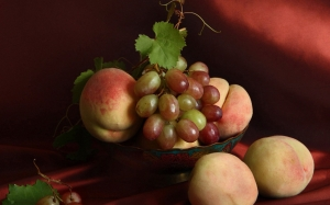 grapes, summer, still life, peaches, dishes, fruit