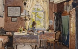 Carl Wenzel Zajicek, painting, interior, woman, window