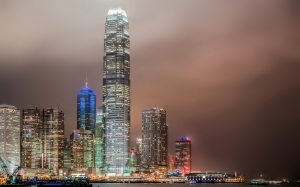 architecture, cities, city, Hong Kong, skyscrapers, night, typhoon
