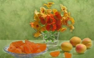 apricots, spring, May, marmalade, nasturtiums, still life, fruits, flowers, candied