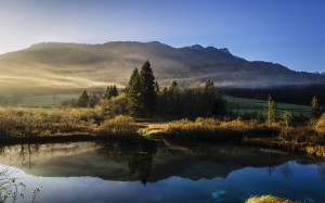 landscape, nature, mountains, pond, water, fog