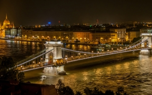 night, The Szechenyi Chain Bridge, river, Buda Castle, Budapest, Hungary, city, architecture