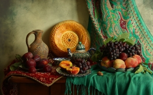 grapes, still life, peaches, plums, dishes, Uzbek, fruit,