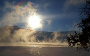 canim lake, winter, early morning, sun, fog, scenery, landscape, nature, british columbia, canada