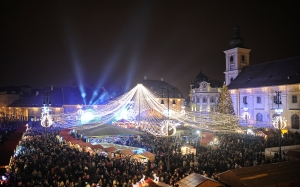 Christmas, Xmas, holidays, New Year, City, cities, winter, evening, Sibiu, market, Romania