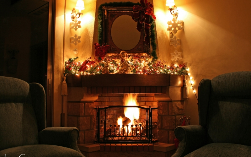 Christmas, Xmas, holidays, New Year, City, fireplace, room, chairs