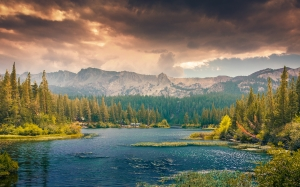 landscape, nature, mountains, lake, forest, woods