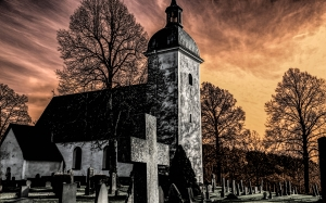 church, cemetery, hdr, atmosphere, sweden