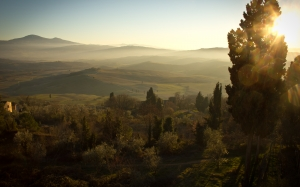 landscape, mountains, nature, sunset, sunny, forest, trees, sunrise, italy, evening, view, glare, tuscany