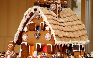 new year, christmas, holidays, xmas, food, gingerbread house