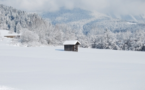 cabin, winter, snow, nature, winter, snowy, landscape, mountains
