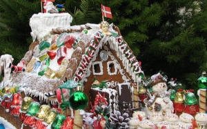 new year, christmas, holidays, xmas, food, gingerbread house, tree, decorations