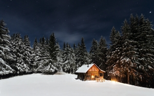 winter landscape, mountain, forest, winter, snow, nature, landscape, cabin