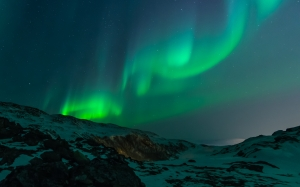landscape, mountains, sky, evening, night, nature, snow, northern lights, north