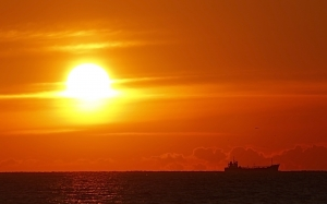 seascape, sunset, ship, sea, sky, ocean, sun