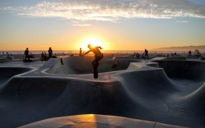 skateboarding, beach, sports, sunset