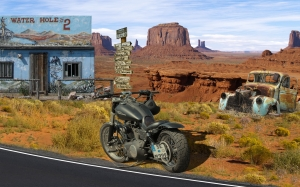 vehicle, motorcycle, road, Wild West, America, Harley-Davidson