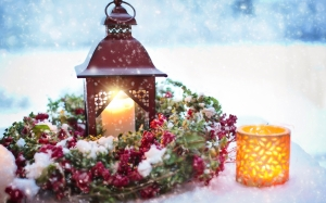 New year, Christmas, Xmas, holidays, wreath, candle, snow, lights
