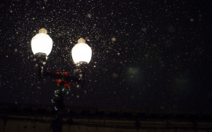 New year, Christmas, Xmas, holidays, street lamp, snow, winter, night, evening