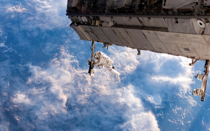 iss, space station, international space station, astronaut, construction, walk, space, clouds, earth, fabrication, building, space walk, repair