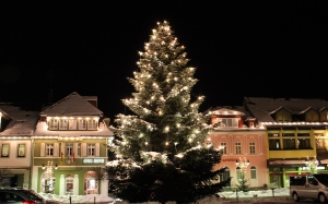 christmas tree, christmas, night, winter, snow landscape, snow, town, xmas, holidays
