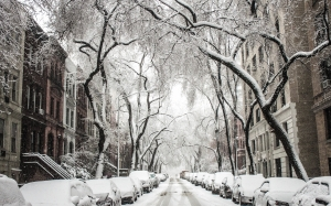 city, winter, street, covered with snow, snow, cars, nature, season, houses, buildings