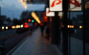 street, city, lights, night, evening, lens, blur, shops, colors