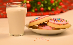 christmas, xmas, milk, cookies, santa, snack, biscuit, beverage, plate, holiday