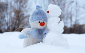 snowman, snow, winter, new year