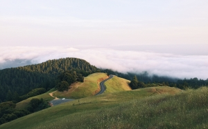 stinson beach, united states, usa, nature, mountain, landscape, clouds, road
