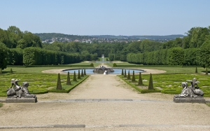 castle, champs sur marne, schlossgarten, fountain, garden, noble residence, france