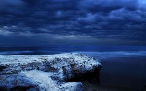 cold, sea, night, water, clouds, rocks, dark clouds, southport beach, port noarlunga, australia