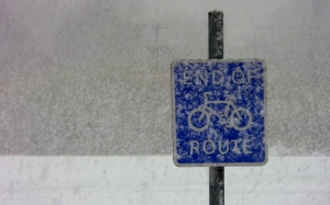 winter, blizzard, snow, road sign, storm