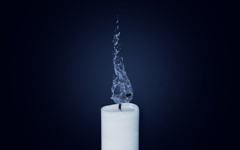 candle, flame, water, candlelight, burn, light, cold, abstract