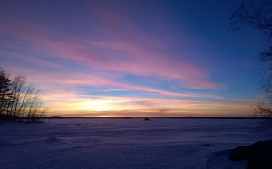 sunset, ice, landscape, nature, snow, blue, winter, lake, sky