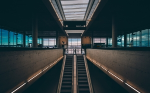 escalator, airport, staircase, building, city