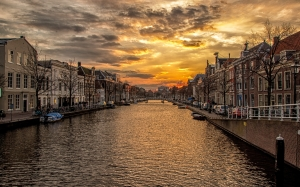 canal, holland, houses, city, landscape, water, river, evening