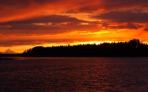 sunset, midsummer, lake, finnish, water