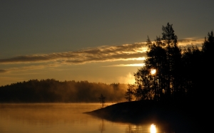 finnish, savonlinna, saimaa, sky, water, nature, finland, sun, lake, island, sunrise, morning, september