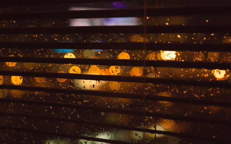 blurry, lights, rain, window, blinds, dark, night, room, city