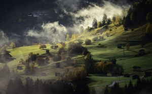 nature, landscape, autumn, fog, village